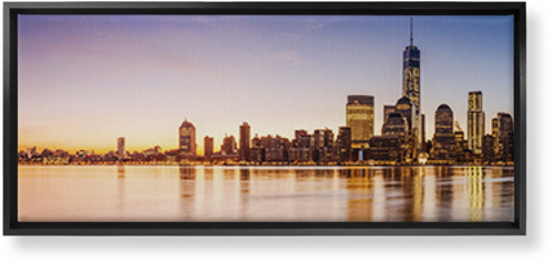 New York City Skyline Canvas Print, Black, Single piece, 12 x 36 inches, Multicolor
