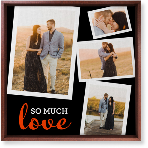 So Much Love Collage Canvas Print, CANVAS_FRAME_BROWN, Single piece, 16 x 16 inches, Black