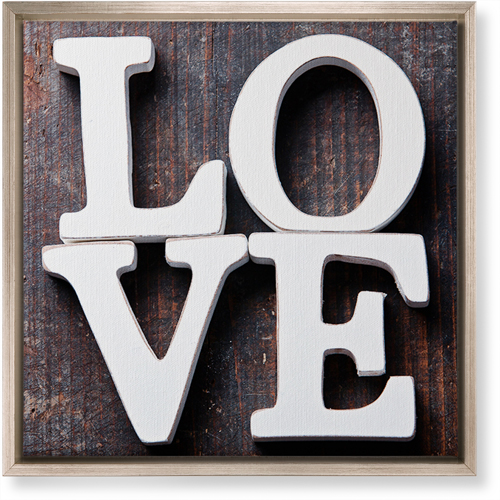 Rustic Stacked Love Canvas Print, CANVAS_FRAME_METALLIC, Single piece, 16 x 16 inches, Multicolor