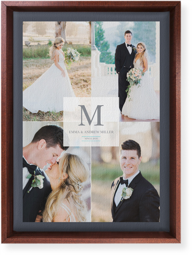 Classic Initial Wedding Canvas Print, Brown, Single piece, 10 x 14 inches, White