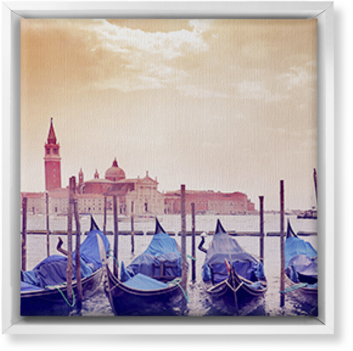 Venice Gondolas Canvas Print, White, Single piece, 12 x 12 inches, Multicolor