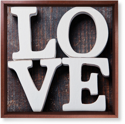 Rustic Stacked Love Canvas Print, Brown, Single piece, 12 x 12 inches, Multicolor