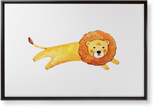 Lion Watercolor Canvas Print, Black, Single piece, 20 x 30 inches, Multicolor