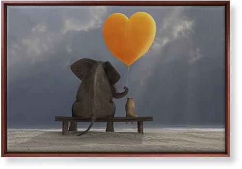 Elephant Heart Balloon Canvas Print, Brown, Single piece, 20 x 30 inches, Multicolor