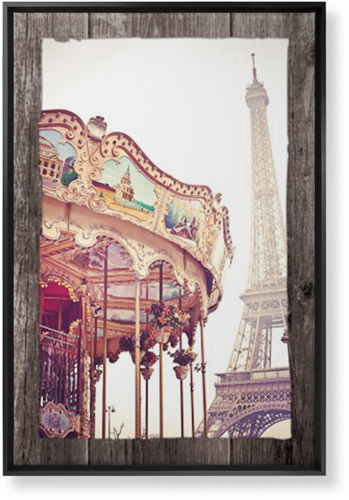 Eiffel Tower and Merry Go Round Canvas Print, Black, Single piece, 20 x 30 inches, Brown
