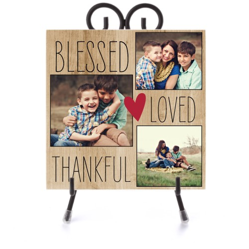 Blessed Loved Thankful Ceramic Tile