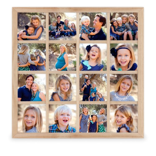 Photo Gallery Grid 16 Square Collage Frame, Beige, Square, Multicolor