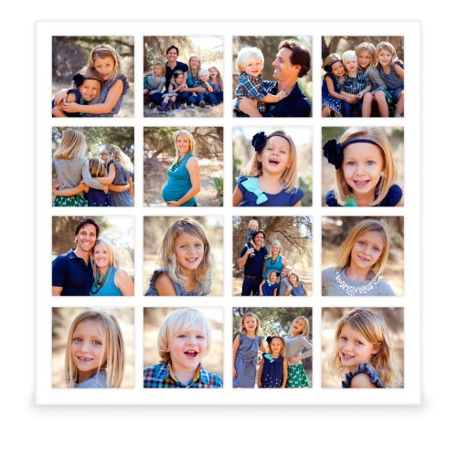 Photo Gallery Grid 16 Square Collage Frame, White, Square, Multicolor