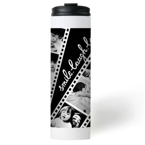 Filmstrip Fun Stainless Steel Travel Mug, White,  , 20 oz, Brown