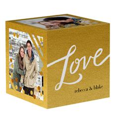 golden love photo cube
