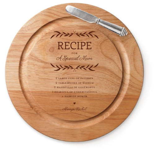 Special Recipe Cutting Board, Rubber, Round Cutting Board, With Cheese Knife, White