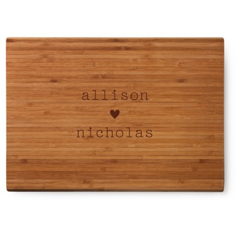 Perfect Pair Heart Cutting Board, Bamboo, Rectangle Cutting Board, NONE, White
