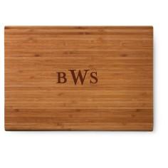 three letter monogram cutting board