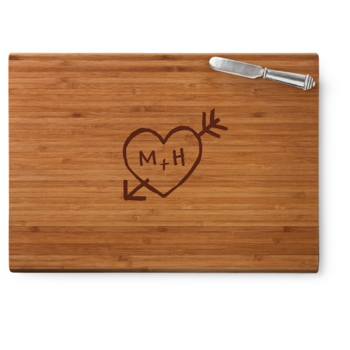 Carved Heart Cutting Board, Bamboo, Rectangle Cutting Board, With Cheese Knife, White