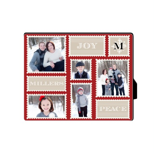 Holiday Stamps Desktop Plaque, Rectangle, 8 x 10 inches, Red