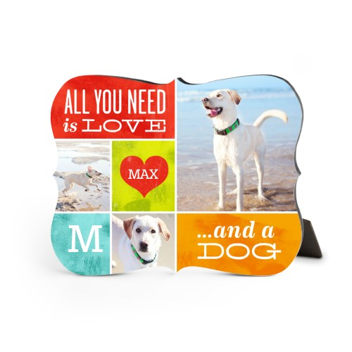 Love and a Dog Desktop Plaque, Bracket, 8 x 10 inches, Red