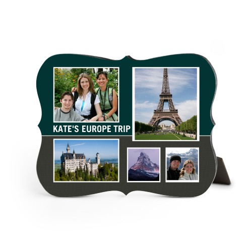 Travel Collage Desktop Plaque, Bracket, 8 x 10 inches, Grey