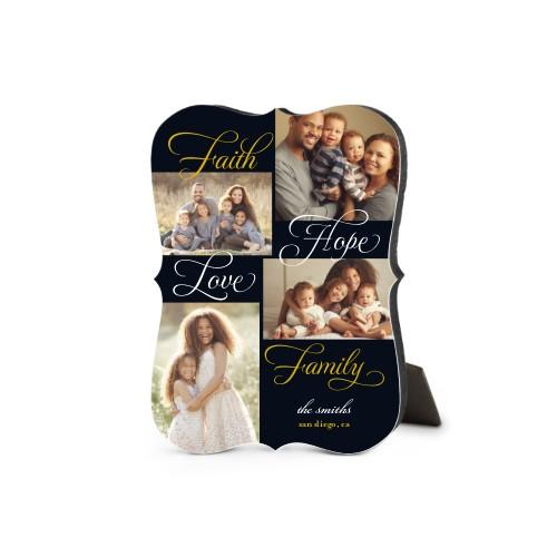 Faith And Family Desktop Plaque, Bracket, 5 x 7 inches, Black