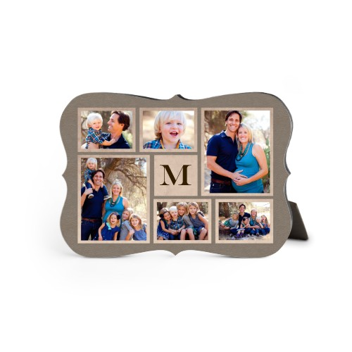 Collage Monogram Desktop Plaque, Bracket, 5 x 7 inches, Brown