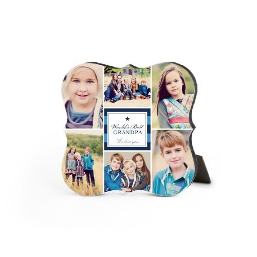World's Best Stripe Collage Desktop Plaque, Bracket, 5 x 5 inches, DynamicColor