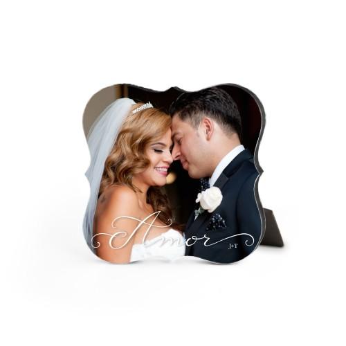 Amor Desktop Plaque, Bracket, 5 x 5 inches, White