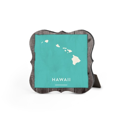 Hawaii State Art Desktop Plaque, Bracket, 5 x 5 inches, Brown