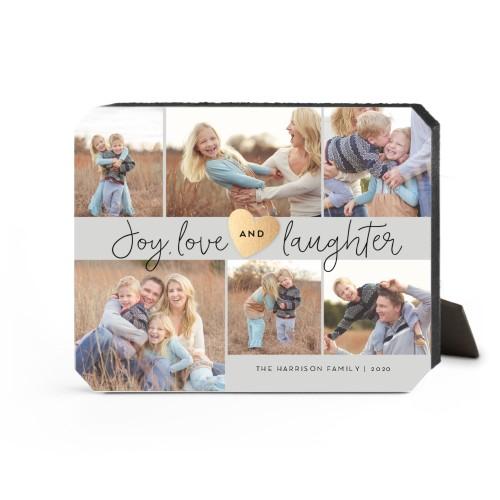 Joy Love Laughter Desktop Plaque, Ticket, 8 x 10 inches, Grey