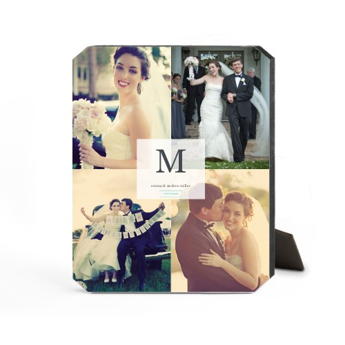 Classic Initial Wedding Desktop Plaque, Ticket, 8 x 10 inches, White