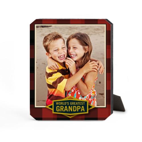 Greatest Grandpa Plaid Desktop Plaque, Ticket, 8 x 10 inches, Red