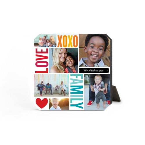 Family Love Hugs Desktop Plaque, Ticket, 5 x 5 inches, Red