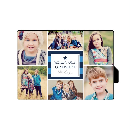 World's Best Stripe Collage Desktop Plaque, Rectangle, 5 x 7 inches, Blue