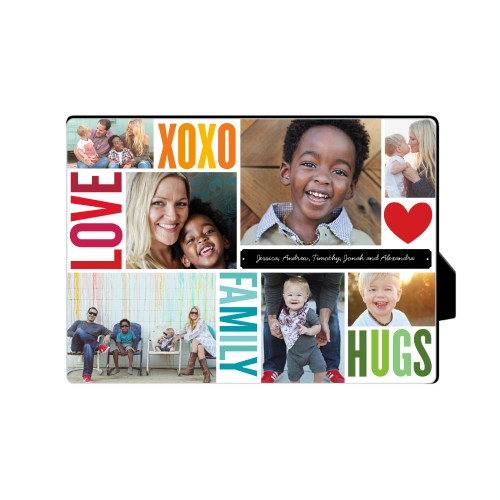 Family Love Hugs Desktop Plaque, Rectangle, 5 x 7 inches, Red