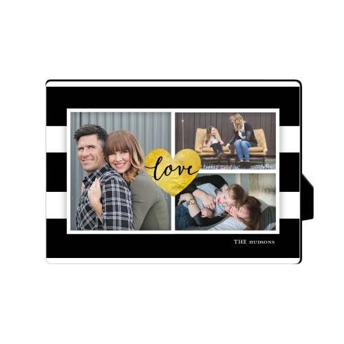 Love Stripes Desktop Plaque, Rectangle, 5 x 7 inches, Black