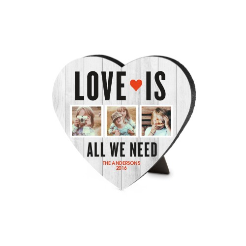 Love Is All We Need Heart-Shaped Desktop Plaque, Heart, 6 x 6.5 inches, Grey