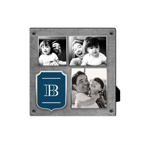 Monogram Emblem Desktop Plaque, Rectangle, 5 x 5 inches, Grey