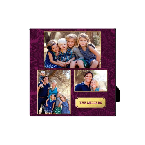 Paisley Family Badge Desktop Plaque, Rectangle, 5 x 5 inches, Purple