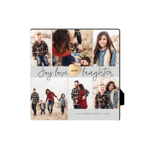Joy Love Laughter Desktop Plaque, Rectangle, 5 x 5 inches, Grey