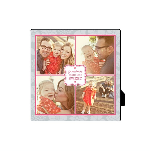 Sweet Grandma Desktop Plaque, Rectangle, 5 x 5 inches, Grey