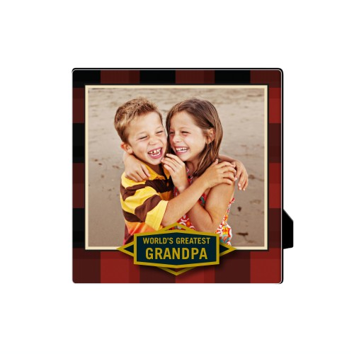 Greatest Grandpa Plaid Desktop Plaque, Rectangle, 5 x 5 inches, Red