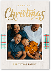 striped plaid holiday card