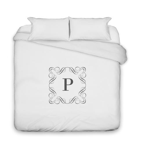 Stylized Border Monogram Duvet Cover, Duvet, Duvet Cover w/ White Back, King, DynamicColor