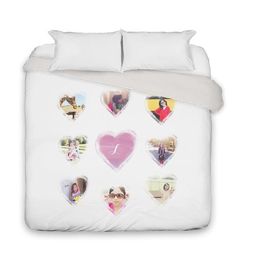 Brushed Heart Watercolor Duvet Cover, Duvet, Duvet Cover w/ Taupe Ticking Stripe Back, King, Purple