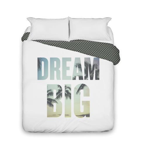 Dream Big Duvet Cover, Duvet, Duvet Cover w/ Black Lantern Back, Queen, White
