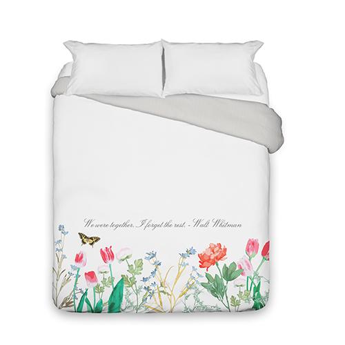 Spring Floral Duvet Cover, Duvet, Duvet Cover w/ Taupe Ticking Stripe Back, Queen, White