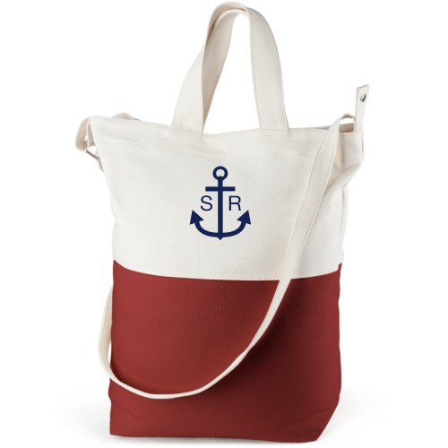 Anchors Away Canvas Tote Bag, Red, Bucket tote, White