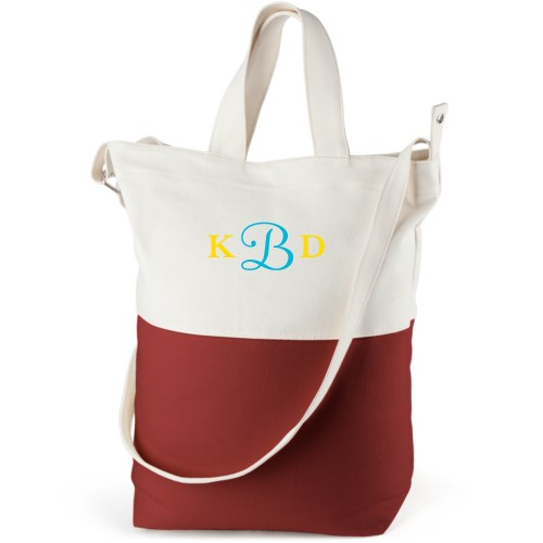 Three Letter Monogram Canvas Tote Bag, Red, Bucket tote, White
