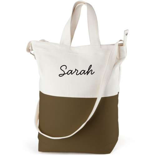 Make It Yours Canvas Tote Bag, Army Green, Bucket tote, White