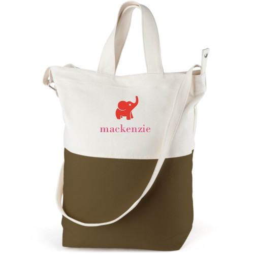 Elephant Girl Canvas Tote Bag, Army Green, Bucket tote, White