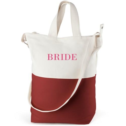 Bride Canvas Tote Bag, Red, Bucket tote, White