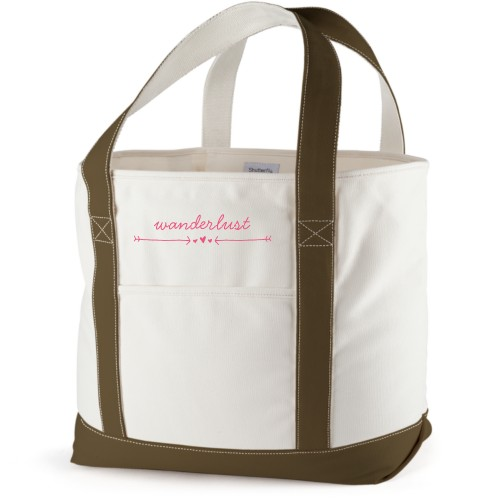 Wanderlust Canvas Tote Bag, Army Green, Large tote, White